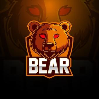 Diseño de logotipo de mascota oso esport