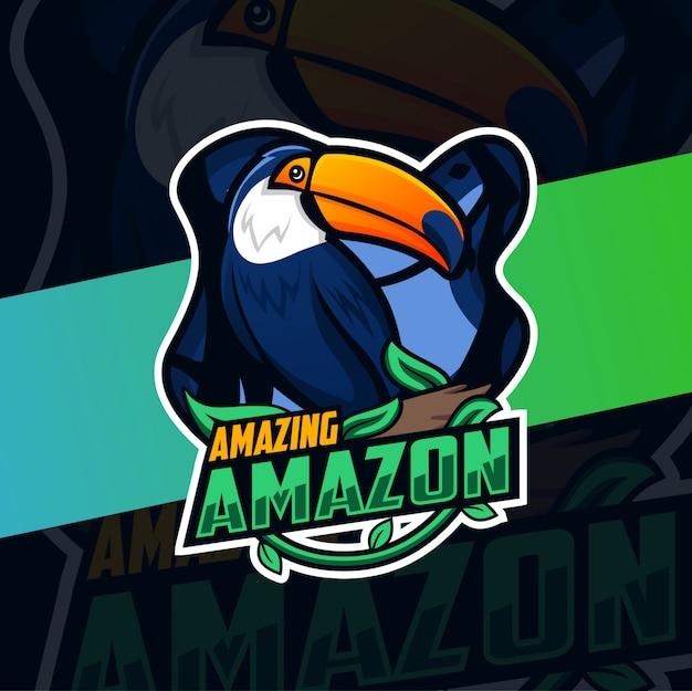 Diseño de logotipo de mascota de pájaro amazónico tucán