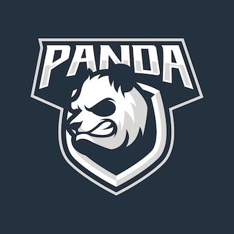 Diseño de logotipo de mascota panda aislado en azul