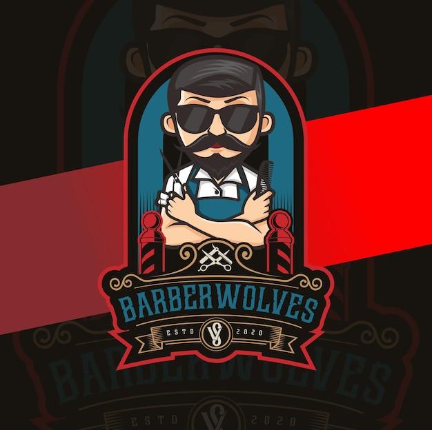 Diseño de logotipo de mascota de personaje de barbero con elementos vintage de lujo
