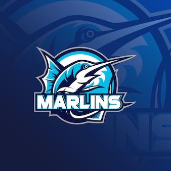 Diseño de logotipo de mascota de pesca con estilo de concepto de ilustración moderna para impresión de insignia, emblema y camiseta.
