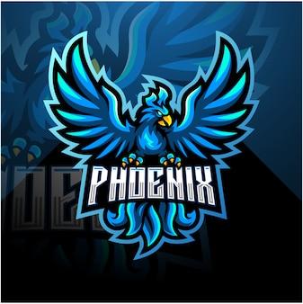 Diseño de logotipo de la mascota de phoenix esport azul