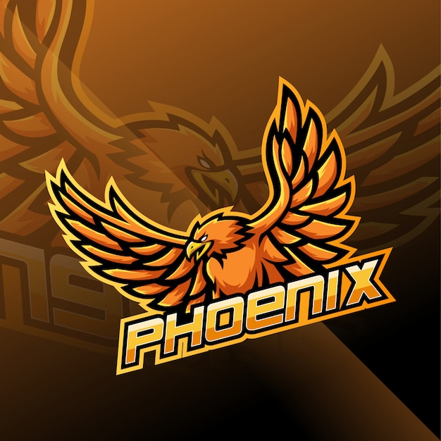 Diseño de logotipo de la mascota de phoenix esport