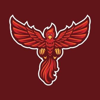 Diseño de logotipo de mascota phoenix