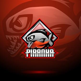 Diseño de logotipo de mascota de piraña esport