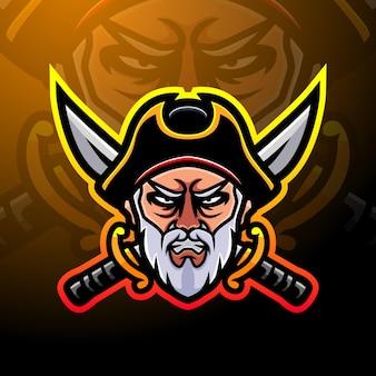 Diseño de logotipo de mascota pirata esport