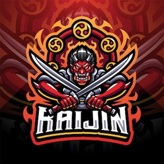 Diseño de logotipo de mascota raijin esport