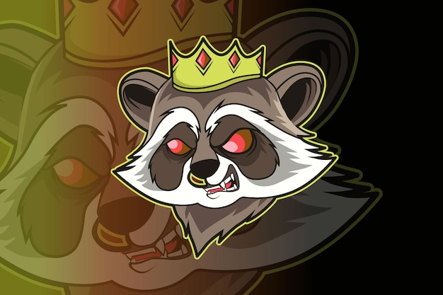 Diseño del logotipo de la mascota del rey mapache