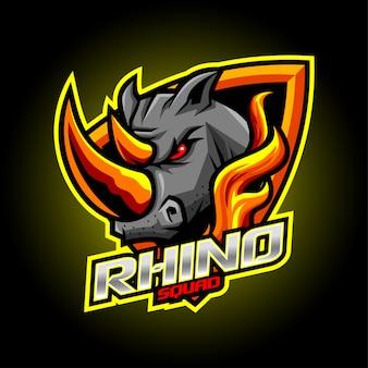 Diseño de logotipo de mascota de rhino esport