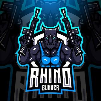 Diseño de logotipo de mascota rhino gunner esport