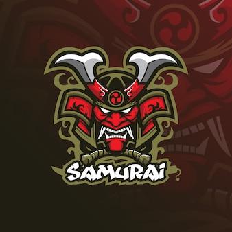 Diseño del logotipo de la mascota samura con un estilo de ilustración moderno para la impresión de insignias, emblemas y camisetas.
