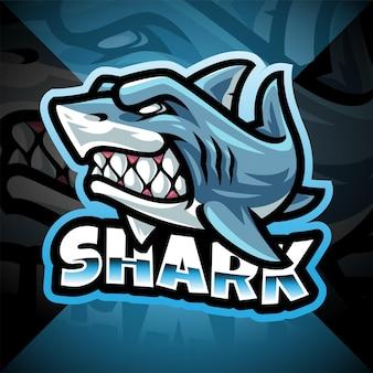 Diseño de logotipo de mascota shark esport