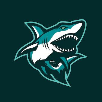 Diseño de logotipo de mascota de tiburones