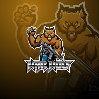 Diseño de logotipo de la mascota de war wolf esport