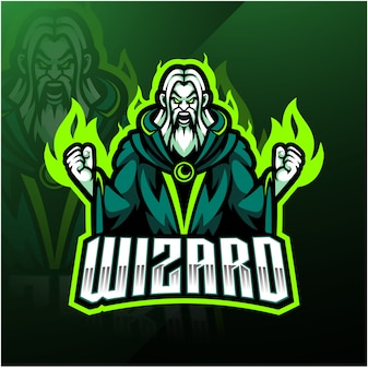 Diseño de logotipo de la mascota wizard esport