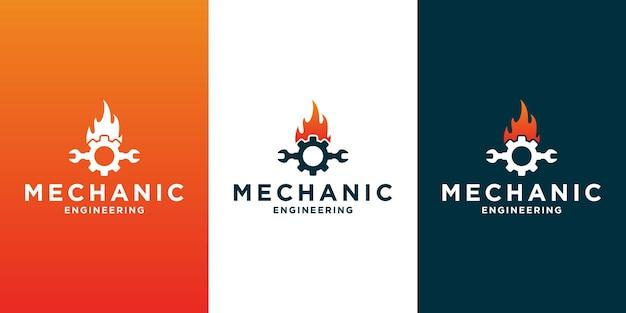 Diseño de logotipo mecánico creativo con equipo, engranajes y trabajo de fuego, para su taller de negocios.