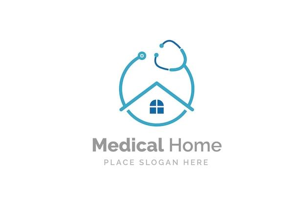 Diseño de logotipo médico home con icono de estetoscopio