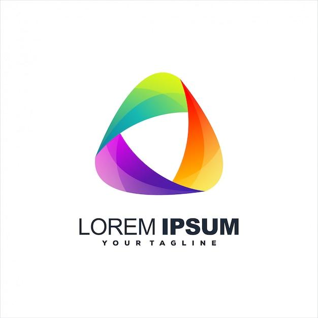 Diseño de logotipo de medios degradados triangulares