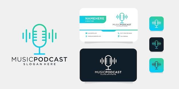 Diseño de logotipo de micrófono de monograma de podcast de música con plantilla de tarjeta de visita