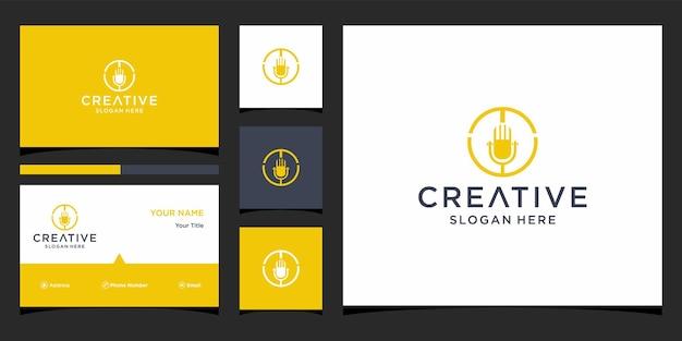 Diseño de logotipo de micrófono de música con plantilla de tarjeta de visita
