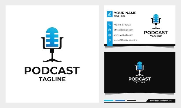 Diseño de logotipo de micrófono de podcast de silla con plantilla de tarjeta de visita