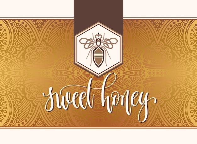 Diseño de logotipo de miel dulce con inscripción de letras de mano