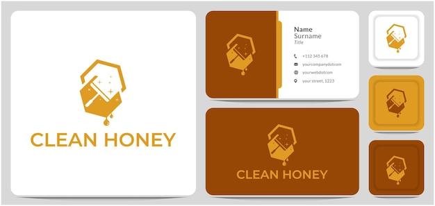 Diseño de logotipo de miel limpia miel para herramientas y técnicas de limpieza naturales