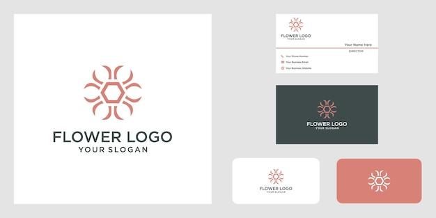 Diseño de logotipo minimalista elegante flor rosa para belleza, cosméticos, yoga y spa