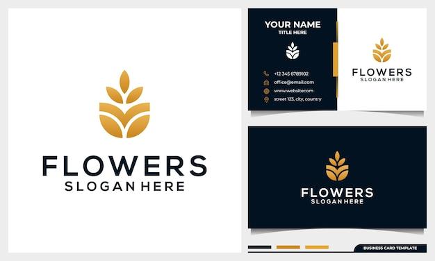Diseño de logotipo minimalista elegante flor rosa con plantilla de tarjeta de visita