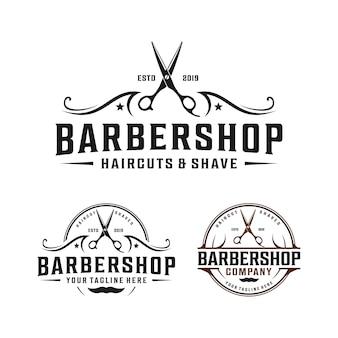 Diseño de logotipo minimalista simple de barbería con elegante adorno