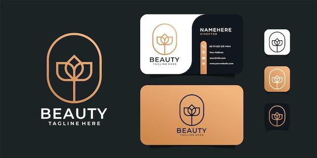 Diseño de logotipo de moda cosmética dorada de belleza.