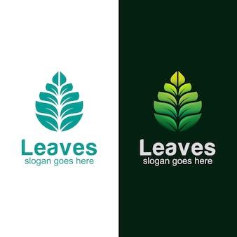 Diseño de logotipo moderno de hojas verdes.