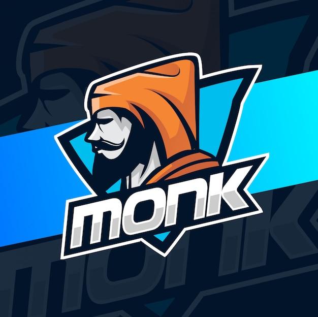 Diseño de logotipo de monje mascota esport