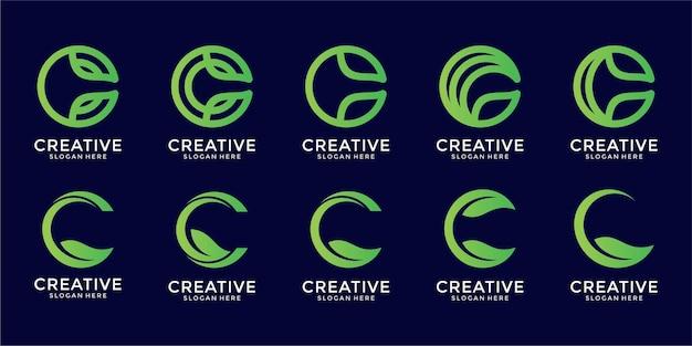 Diseño de logotipo de monograma c con concepto de conjunto de hojas