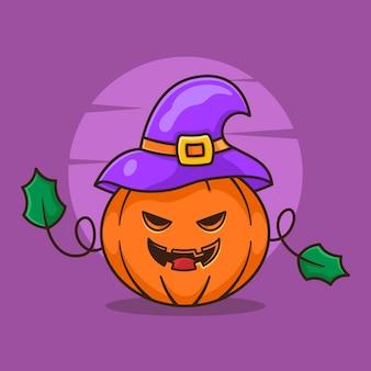 Diseño de logotipo de monstruo de calabaza para personaje de halloween