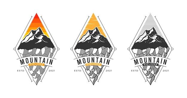 Diseño de logotipo de montaña de 3 estilos