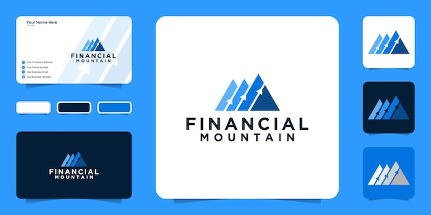 Diseño de logotipo de montañas con flechas, logotipo para finanzas financieras y consultoría