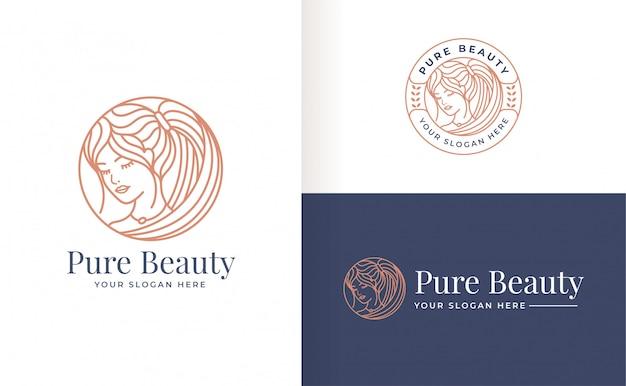 Diseño de logotipo de mujer de arte lineal