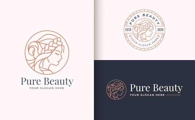 Diseño de logotipo de mujer de belleza con insignia de círculo