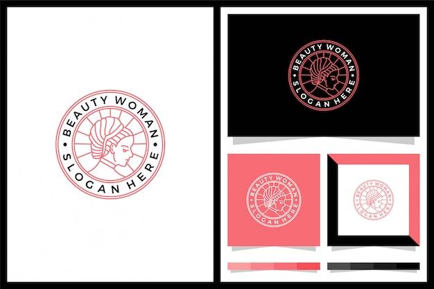 Diseño de logotipo de mujer de belleza minimlais