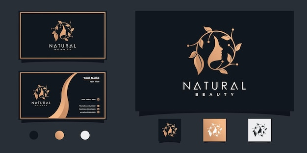 Diseño de logotipo de mujer de belleza natural con concepto combinado de hoja y cara para salón de belleza premium vekto