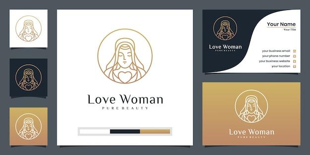 Diseño de logotipo de mujer de belleza con tarjeta de visita