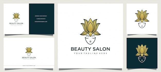 Diseño de logotipo de mujer con elegante tarjeta de visita.
