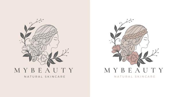 Diseño de logotipo de mujer floral eclipse de arte de línea vintage