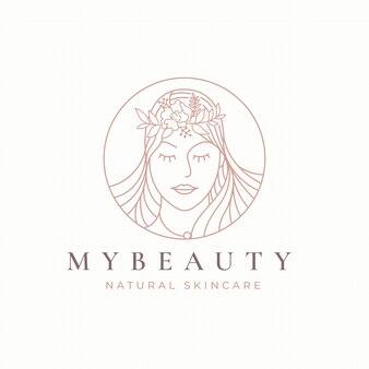 Diseño de logotipo de mujer floral vintage circle line art