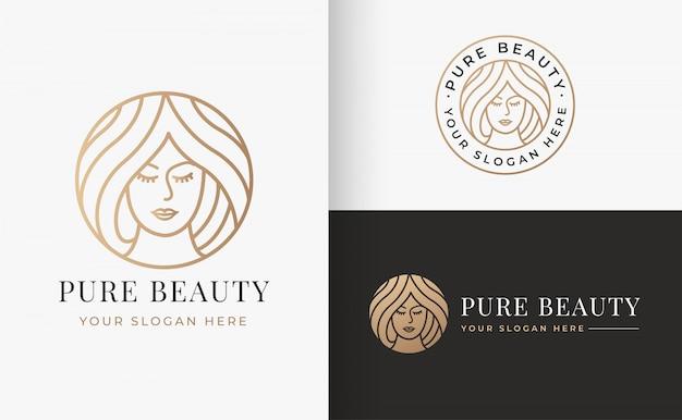 Diseño de logotipo de mujer vintage circle line art