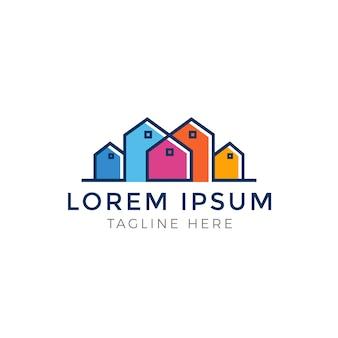 Diseño de logotipo multicolor de bienes raíces de colores