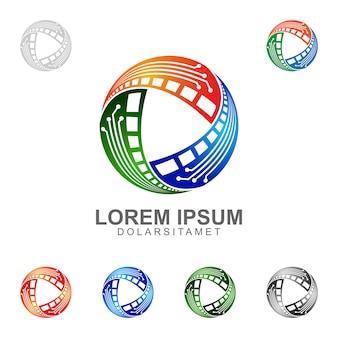 Diseño de logotipo multimedia con tres concepto de elemento