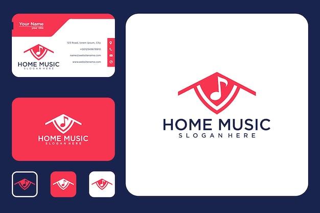 Diseño de logotipo de música en casa y tarjeta de visita.