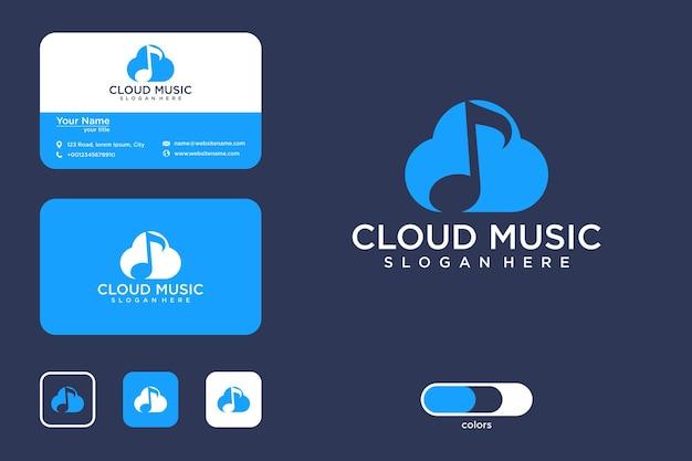 Diseño de logotipo de música en la nube y tarjeta de visita